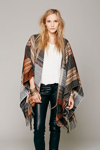 Free People Plaid Stitch Ruana One Size
