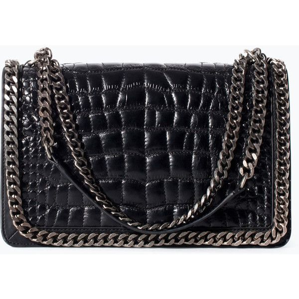 Zara Alligator Chain Bag Black