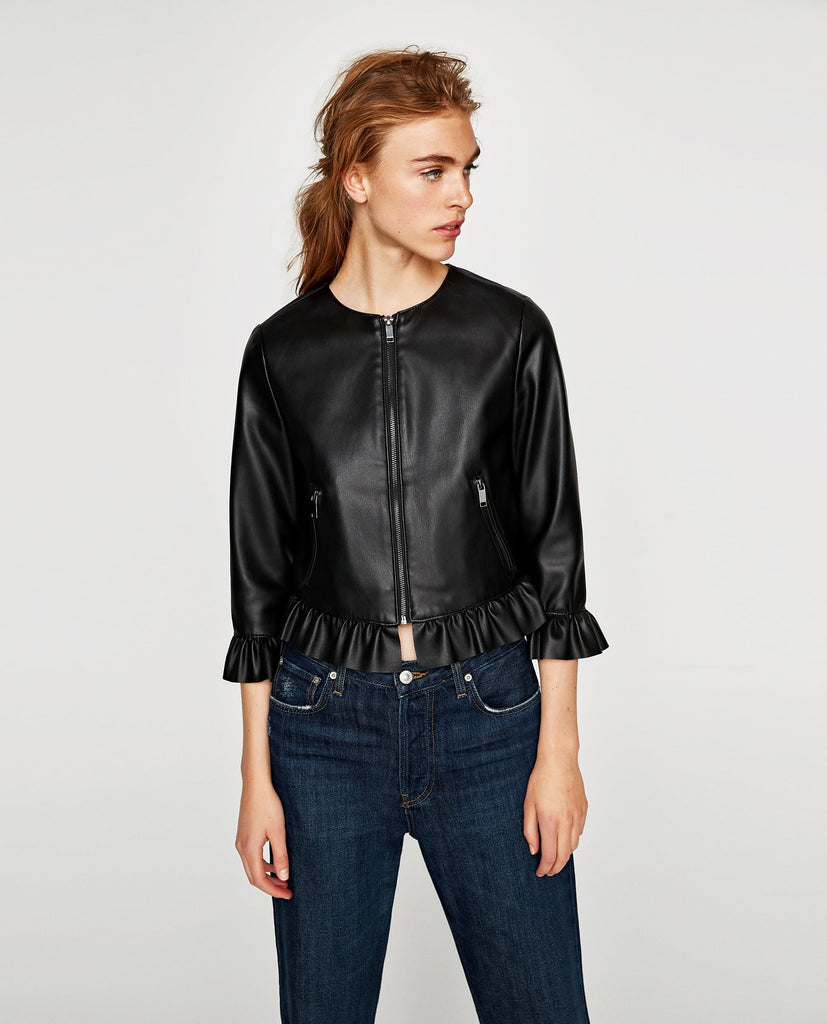 Zara Frilled Leather Jacket Sz: M