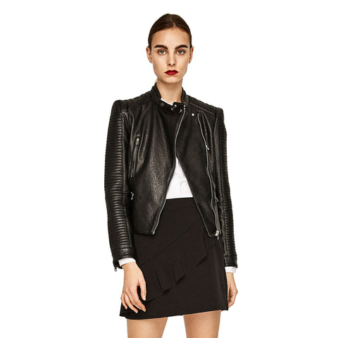 Zara Faux Leather Jacket Sz: L