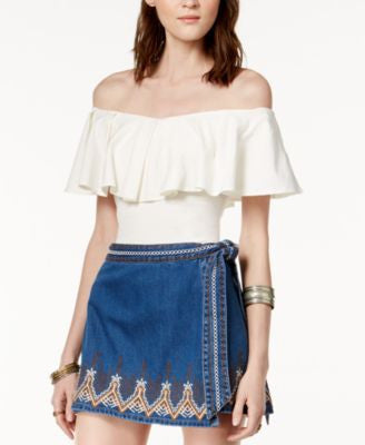 Free People Dream Away Denim Skirt Sz: 4