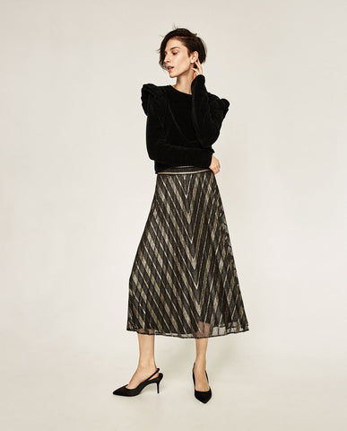 Zara Pleated Midi Skirt Sz. XS