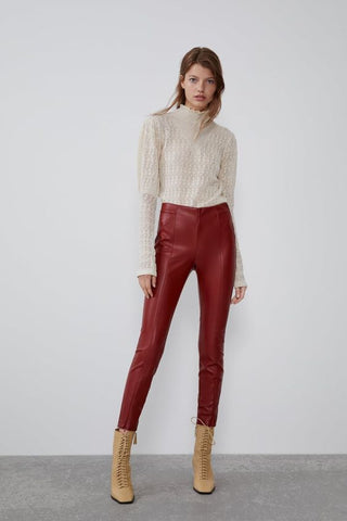 Zara Vegan Leather Pants Sz: L