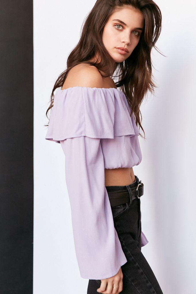 Silence + Noise Cecilia Ruffle Off-The-Shoulder Top Sz: L
