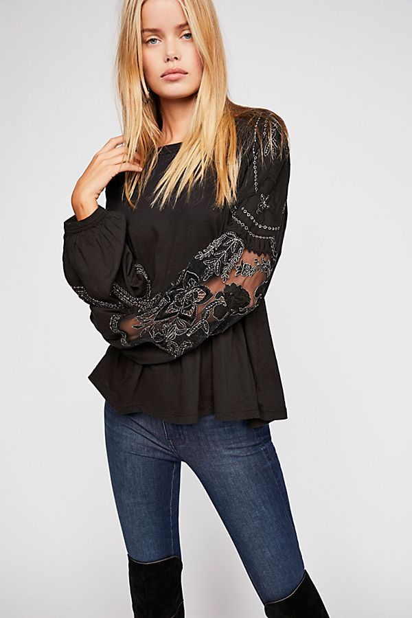 Free People Embroidered Top Sz: S