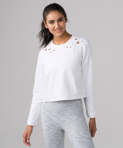 Lululemon Space Crew Eyelet Top Sz:12