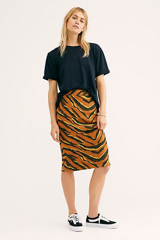 Free People Easy Tiger Midi Skirt Sz M