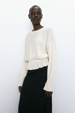 Zara Ribbed Knit Top Sz: S