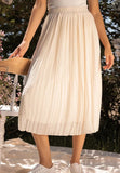 Lulus Ivory Pleated Midi Skirt Sz: M