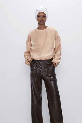 Zara Satin Effect Sweatshirt Sz: S