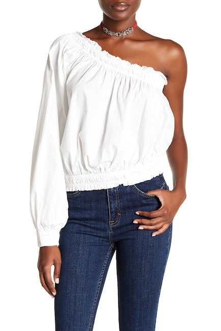 Free People Anabelle One-Shoulder Shirt Sz. M