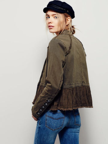 Free People Flared Military Jacket Sz: XS