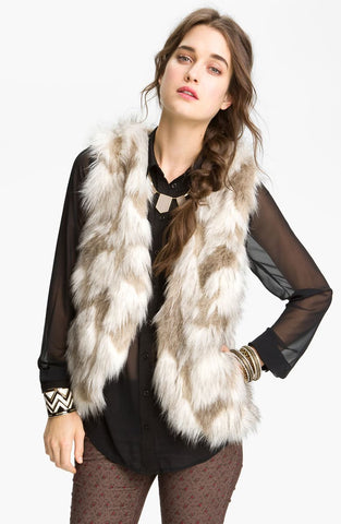 Free People Faux Fur Vest Sz: M