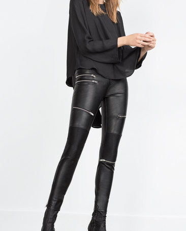 Zara Biker Leather Pants Sz. M