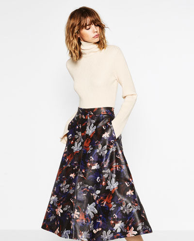 Zara Printed Faux Leather Skirt Sz. S