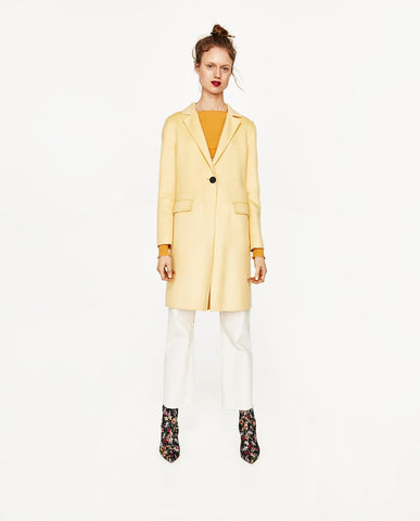 Zara Yellow Coat Sz:S