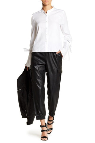 Cian Faux-Leather Cargo Pant Sz XS