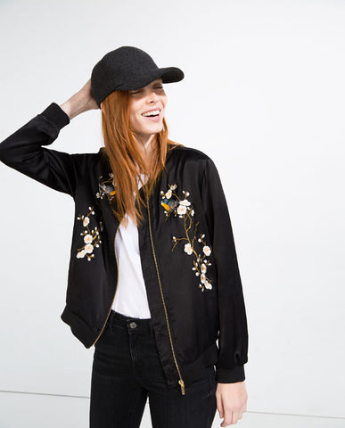 Zara Embroidered Bomber Sz:S