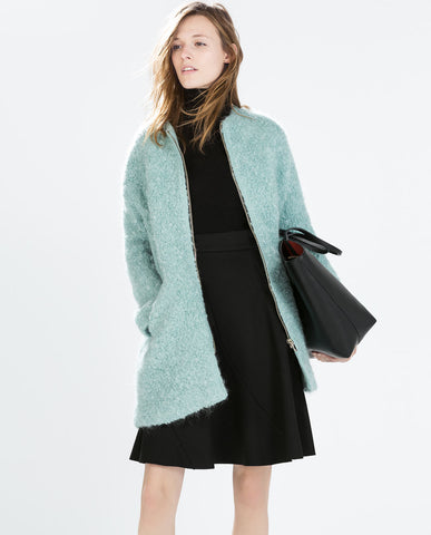 Zara Faux Wool Coat Size L