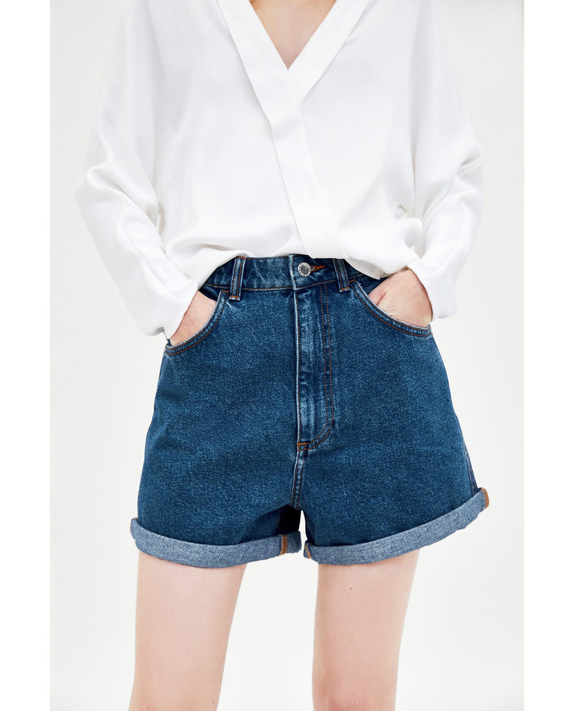 Zara Mom-Fit Bermuda Shorts Sz. 6
