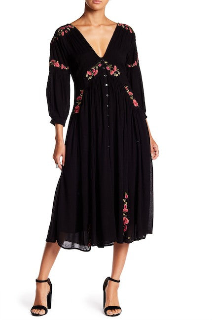 Free People Floral Embroidered Dress Sz. L