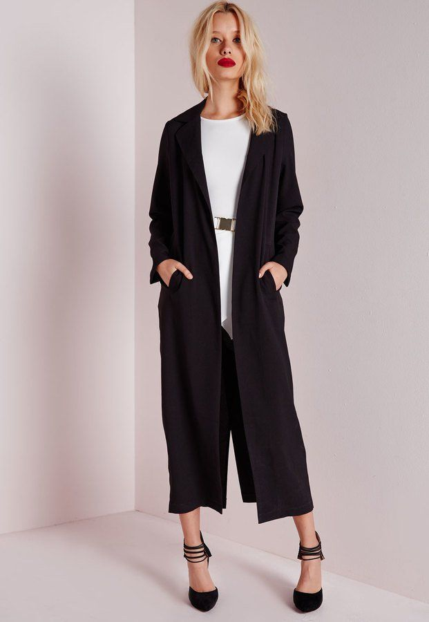 Missguided Long Duster Coat Sz: 6