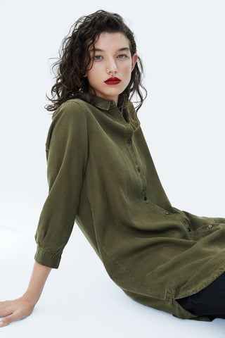 Zara Long Army Shirt NWT Sz S