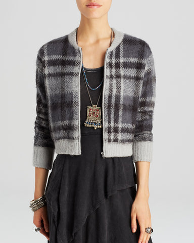 Free People Oh My Plaid Bomber Cardigan Sz: S