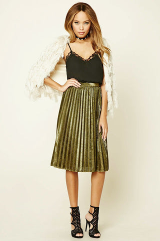 Forever 21 Pleated Metalic Skirt Sz: XS