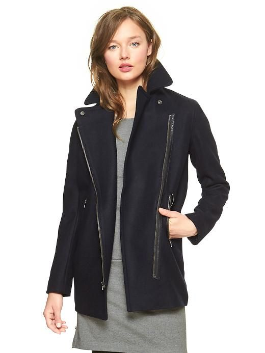Gap Moto Wool Blend Coat Sz: L