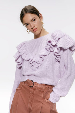 Zara Ruffled Sweater Sz: S