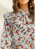 Shein Tie Neck Floral Top Sz: S