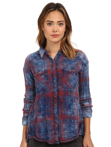 Free People Double Cloth Plaid Button Down Sz: XS