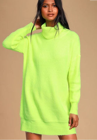 Lulus Neon Sweater Dress Sz. S/M