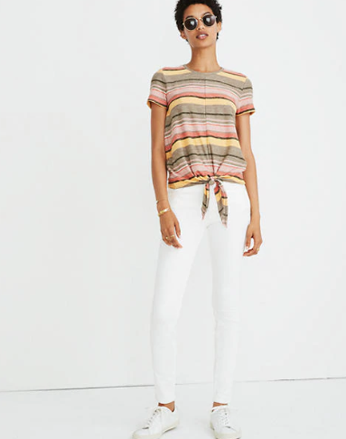 Madewell Striped Tie-Front Tee Sz. XS
