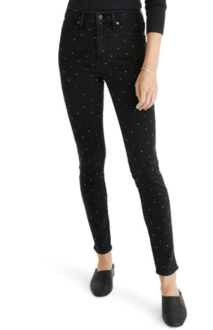 Madewell Metallic Rainbow Dot High Rise Skinny Jeans Sz: 25