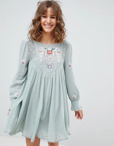 Free People Mohave Embroidered Mini Dress Sz: S
