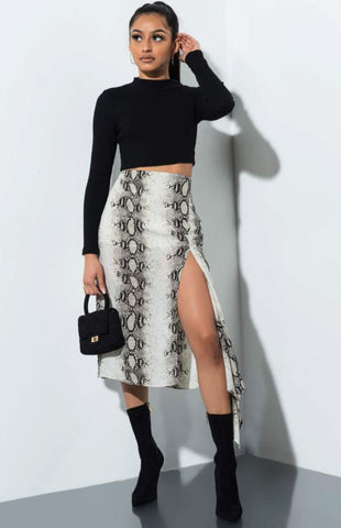 Akira The Label Sheer Snakeskin Midi Skirt Sz: M