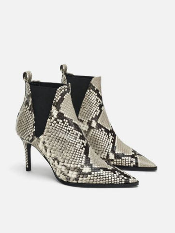 Zara Snakeskin Printed Leather Ankle Boots Sz. 39