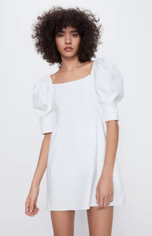 Zara NWT Puff Sleeve Dress Sz: M