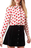 TopShop Heart Print Top Sz: 6