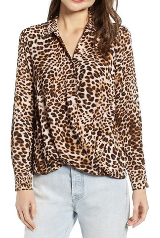 All In Favour Leopard Blouse Sz: M