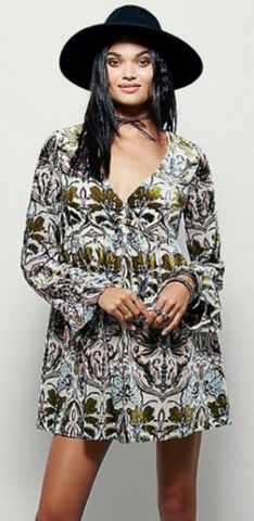 Free People Printed Velvet Dress Sz: S