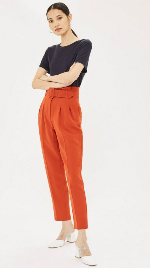 Topshop Belted High Waisted Pants Sz: 6