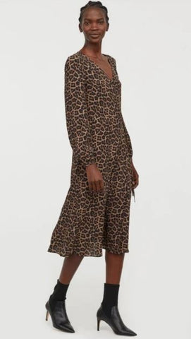H&M Leopard Maxi Wrap Dress Sz: 0