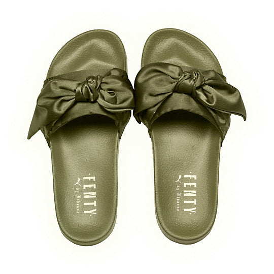 Puma Fenty Olive Bow Slides Sz. 9.5 – Peacock Boutique Consignment a568eee12e38