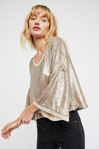 Free People Sequin Cropped Top Sz: M