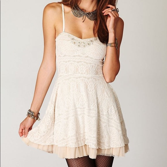 Free People Cream Lace Dress Sz: L