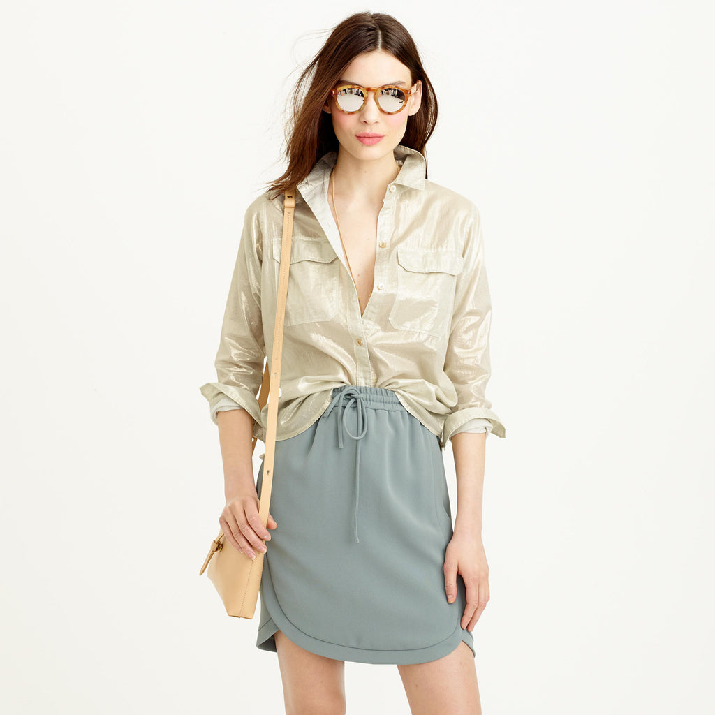 J Crew gold metallic 'Whisper Lame' Blouse Size: 6