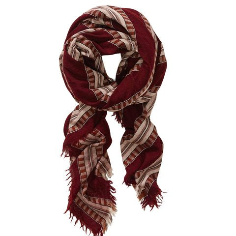 Wilfred Burgundy Stripe Blanket Scarf O/S